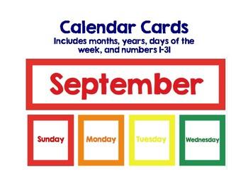 Basic Calendar Cards