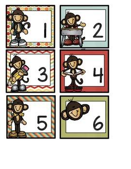 Calendar Cards - Back to School Monkeys