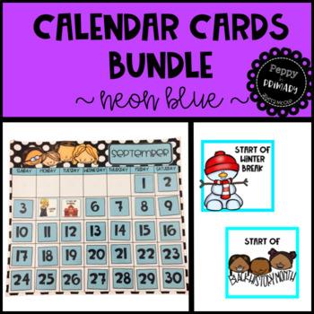 Calendar Cards Bundle - Neon Blue Edition
