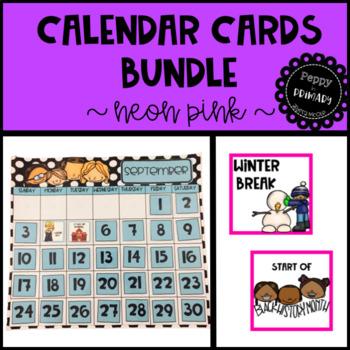 Calendar Cards Bundle - Neon Pink