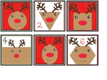 Calendar Date Cards - Reindeer Shapes