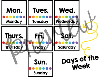 Calendar Cards- Days of the Week