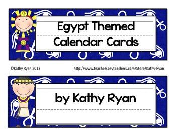 Calendar Cards-Egypt Themed Blue Background