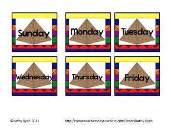 Calendar Cards-Egypt Themed Colorful Background
