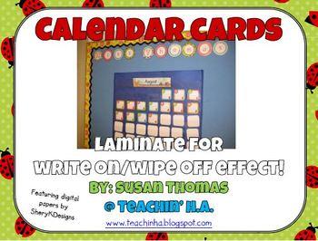 Calendar Cards Ladybugs