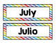 Calendar Cards- Months of the Year (Rainbow Stripes)