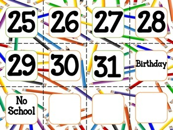 Calendar Cards with Pencil Borders