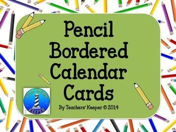 Calendar Cards with Pencil Borders