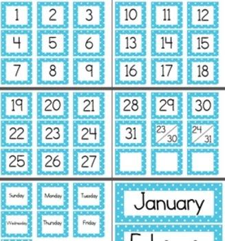 Calendar Cards (Polka Dot ALL COLORS + Rainbow)