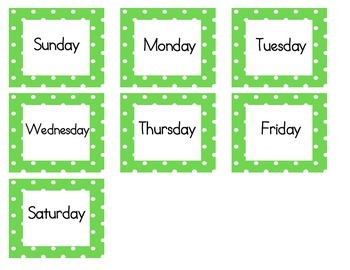 Calendar Cards (Polka Dot GREEN)