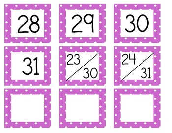Calendar Cards (Polka Dot PURPLE)
