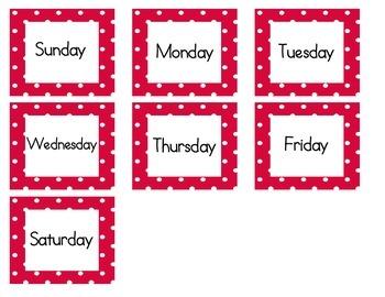 Calendar Cards (Polka Dot RED)