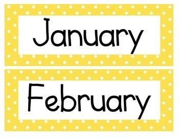 Calendar Cards (Polka Dot YELLOW)