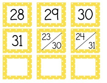 Calendar Cards (Polka Dot YELLOW)