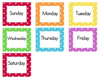 Calendar Cards (Polka dot rainbow themed)