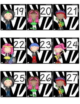 Calendar Cards:  Rock Star Theme