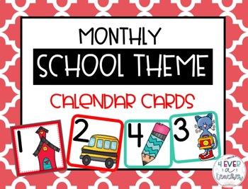 Calendar Cards-School Theme