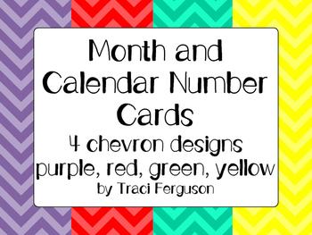 Calendar Cards Set - 4  Chevron Designs (Purple, Red Yellow, Turquoise)