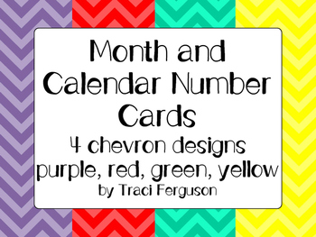 Calendar Cards Set - 4  Chevron Designs (Purple, Red Yellow, Turquoise)