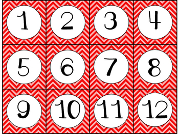Calendar Cards Set - 4 Chevron Designs Turquoise, Red, Dark Red, Pink