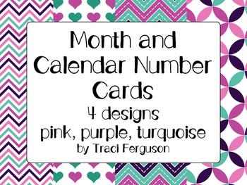 Calendar Cards Set - 4 Designs (Pink, Purple, Turquoise)