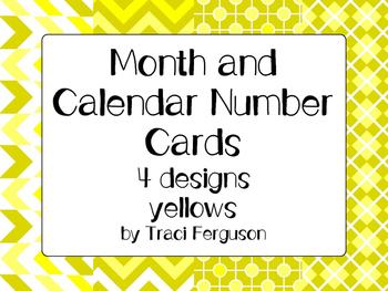 Calendar Cards Set - 4  Designs (Yellows)
