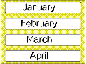 Calendar Cards Set - 4  Designs (Yellows)