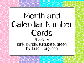 Calendar Cards Set - 4 Rainbow Brights (Pink, Purple, Turquoise, Green)