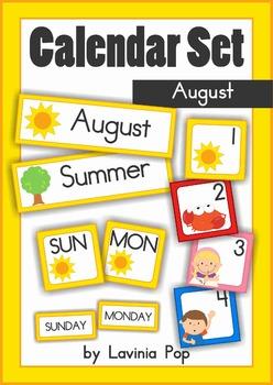 Calendar Cards Set - August
