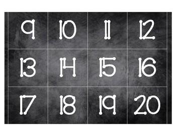 CALENDAR CARDS SET Black Chalkboard