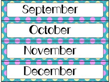 Calendar Cards Set - Bright Polka Dots