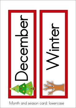 Calendar Cards Set - December