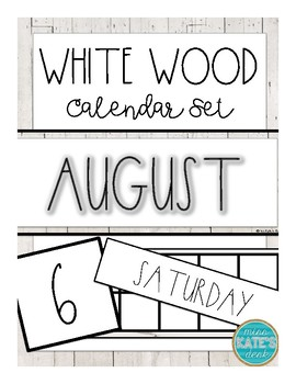 Calendar Cards- White Wood