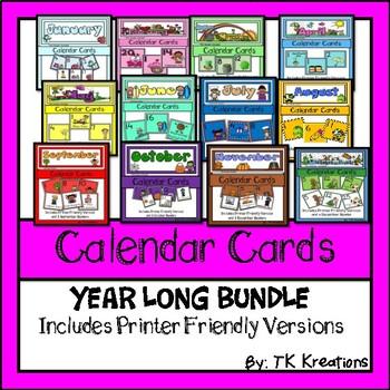 Calendar Cards Year Long Bundle