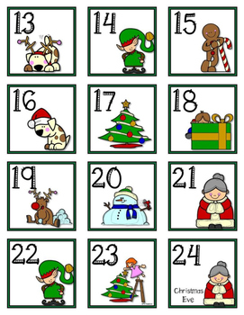 December Christmas Calendar Cards and Header