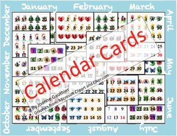 Calendar Cards for the Whole Year