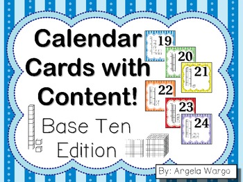 Calendar Cards with Content – Base Ten Edition