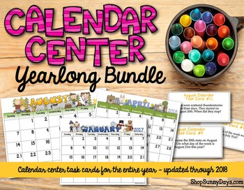 Calendar Center Task Cards Bundle
