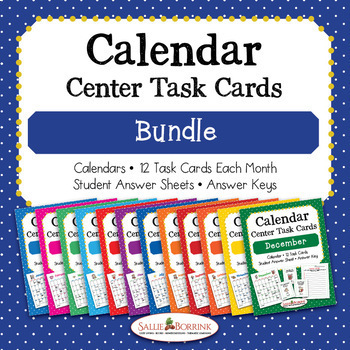 Calendar Center Task Cards Bundle - 12 Months of Calendar Activities