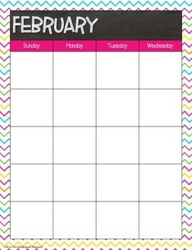 Calendar Chalkboard Bright Design