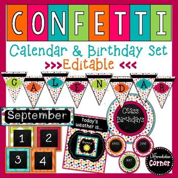 Chalkboard Confetti Calendar and Birthday Bulletin Board