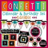Chalkboard Confetti Calendar and Birthday Bulletin Board