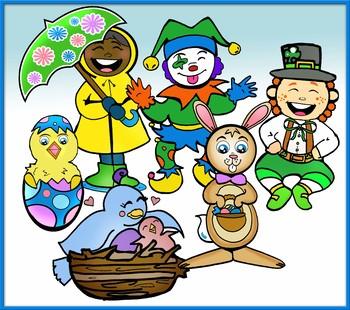 Calendar Characters: Spring Seasonal and Holidays 36 pc. Clip-Art Set!