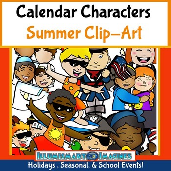 Calendar Characters: Summer 26 pc. Holiday and Seasonal Clip-Art Set!