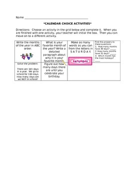 Calendar Choice Activities