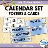 Calendar Classroom Decor Set Sloth Themed