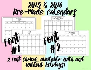 Calendar Clip Art {2015 - 2016}