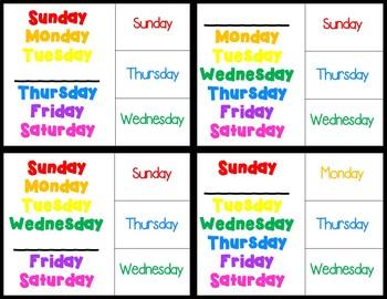 Calendar Clip Cards (special education, autism, elementary)