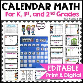 Calendar Math EDITABLE | Black and White Decor