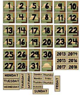 Calendar Components - Safari/Jungle Theme
